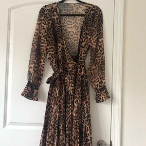 Cheetah Print chiffon paneled dress